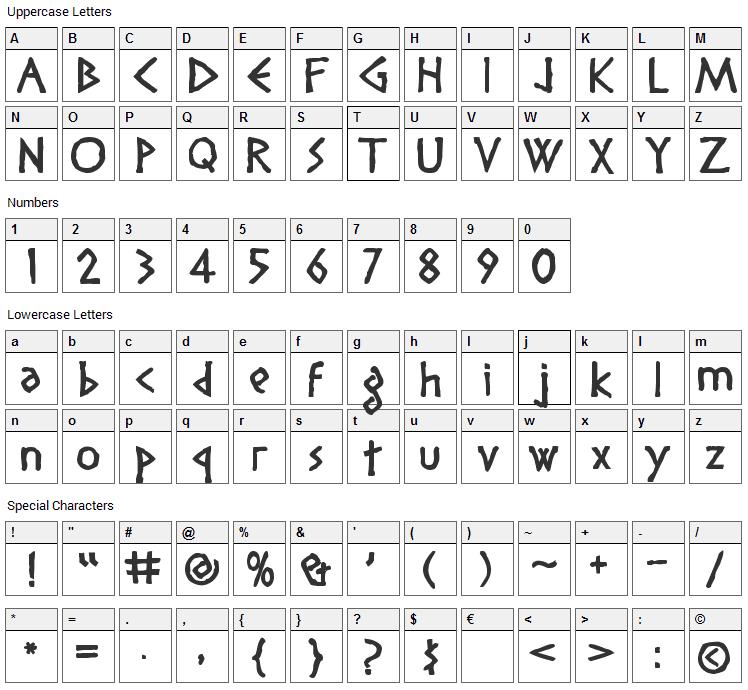Diogenes Font Character Map