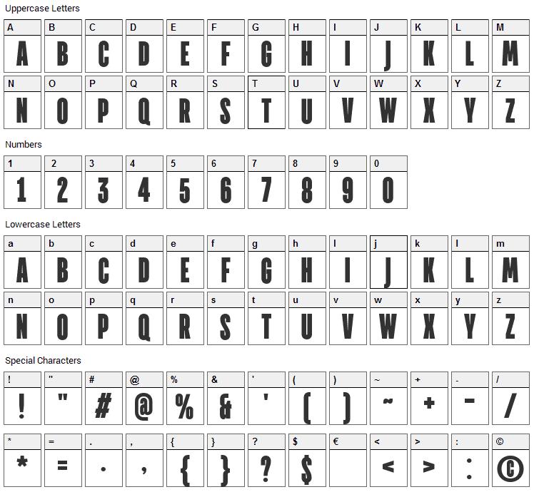 Directors Font Character Map