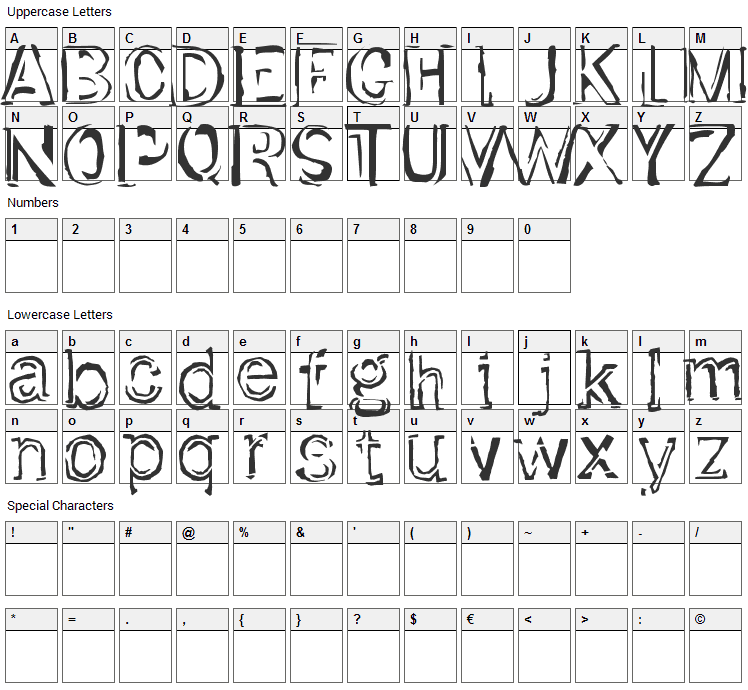 Dirt Font Character Map