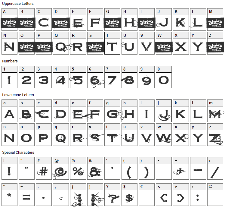 Dirt2 Copperbolt Font Character Map