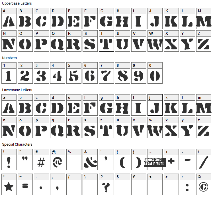 Dirty Bakers Dozen Font Character Map