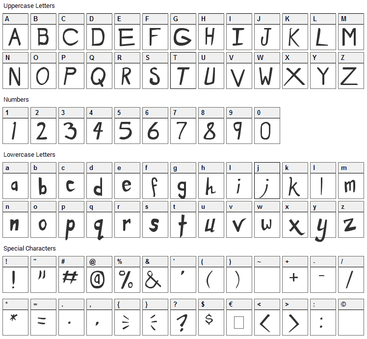 Dirty Duo Font Character Map