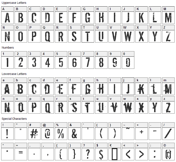 Dirty Ego Font Character Map