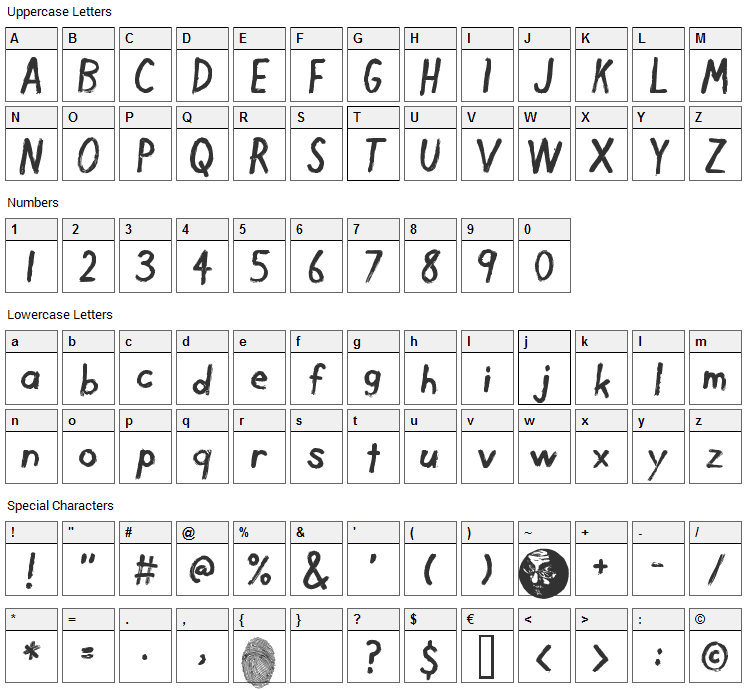 Dirty Finger Font Character Map