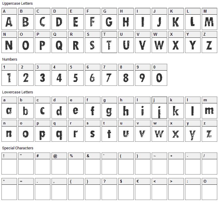 Dirty Socks Skinny Font Character Map