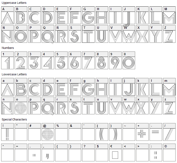 Disco Diva Font Character Map