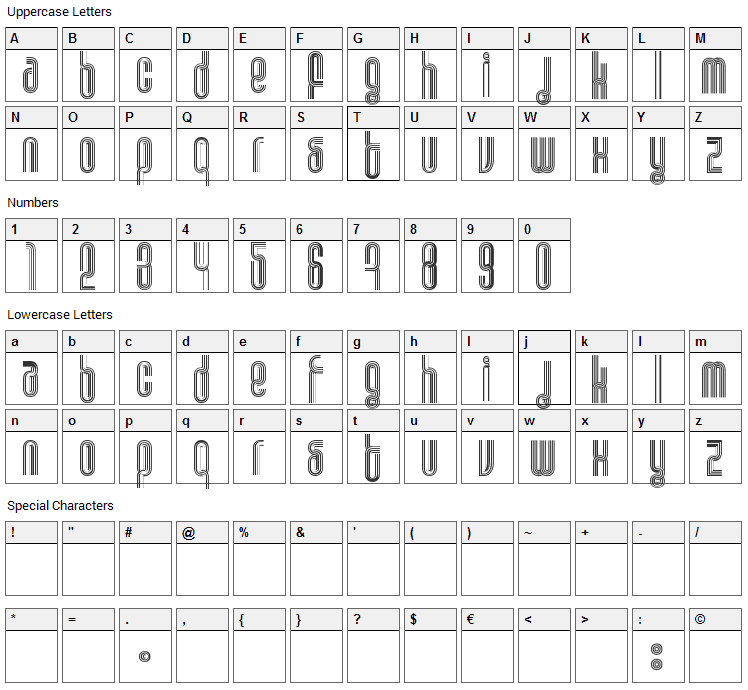 Disco Font Character Map