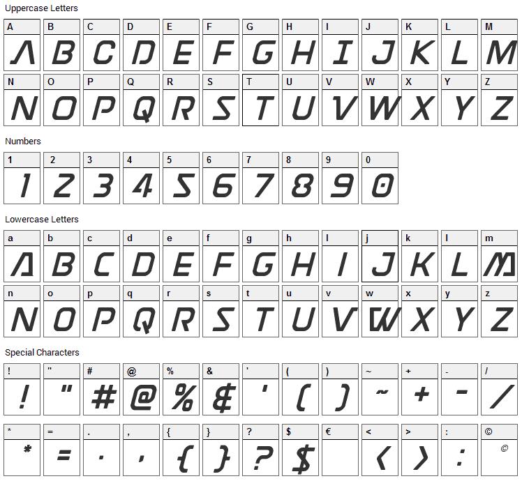 Discotechia Font Character Map