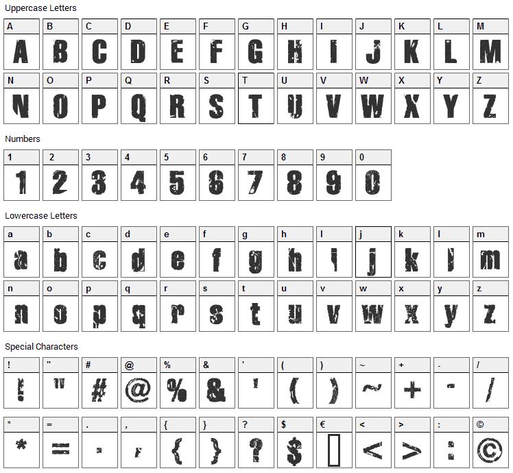 Disintegration Font Character Map