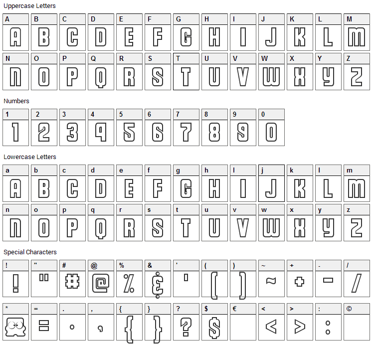 Diskun Font Character Map