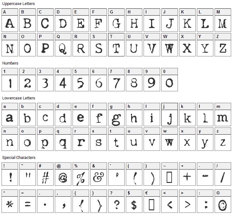 Dislexiae Font Character Map