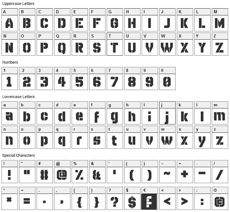 Disparador Stencil Font Character Map