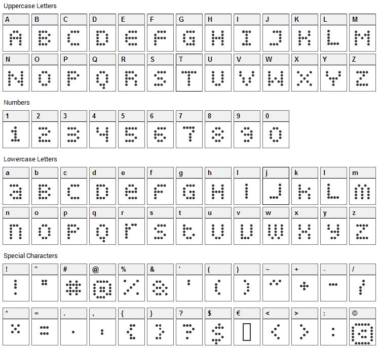 Display Dots Font Character Map