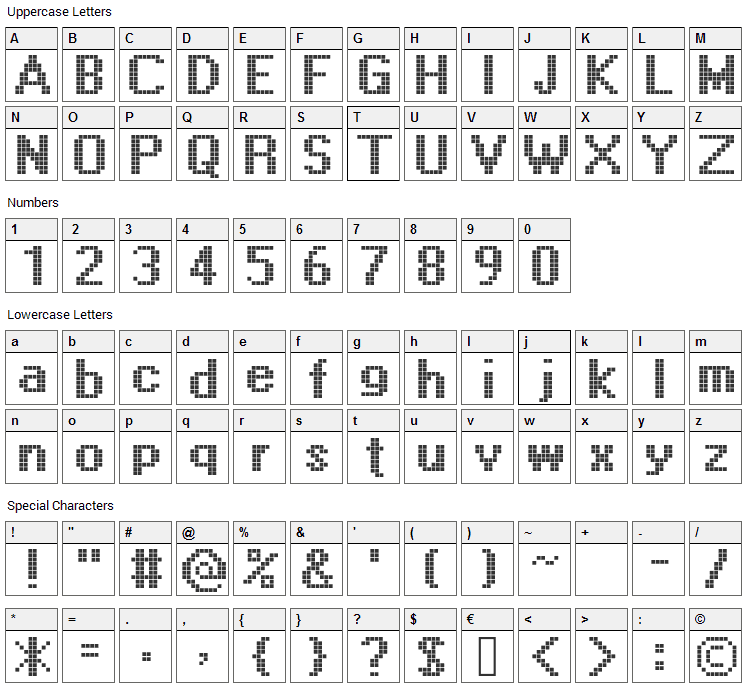 Display Font Character Map