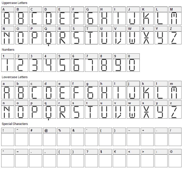 Display Free Font Character Map
