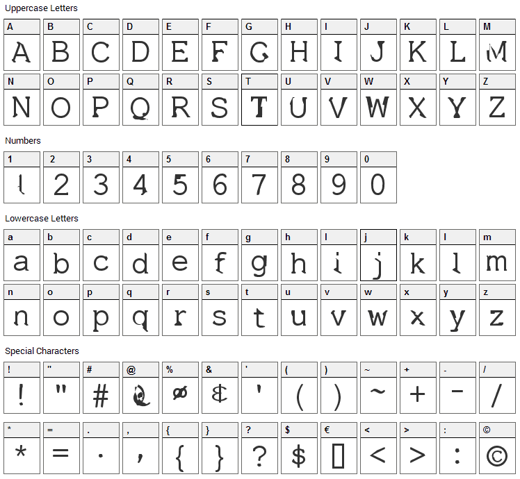 Dissatisfaction Font Character Map