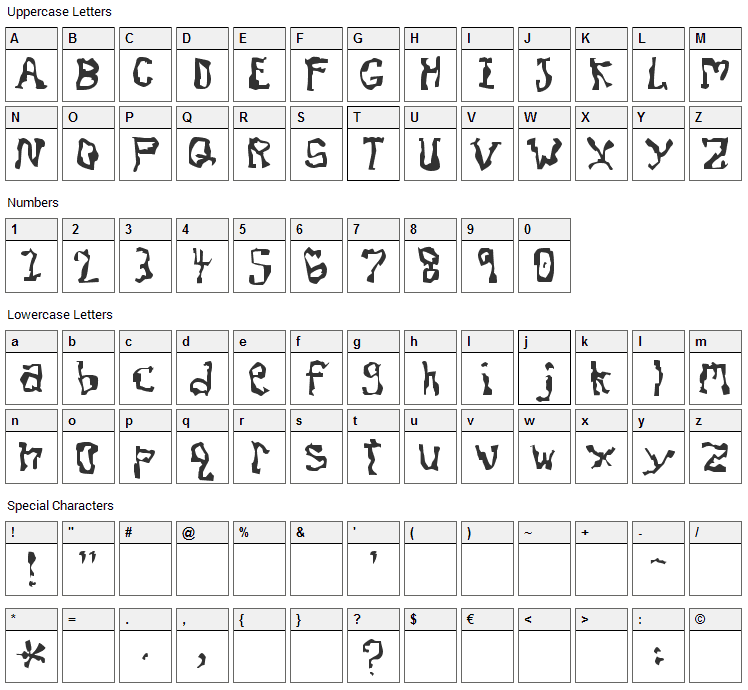 Dissonant Font Character Map