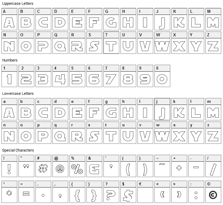 Distant Galaxy Font Character Map