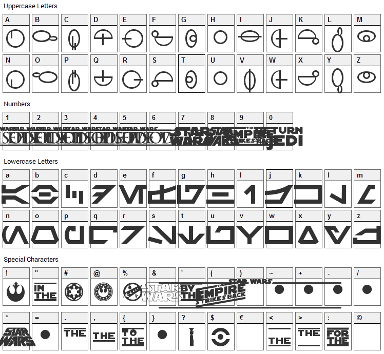 Distant Galaxy Symbols Font Character Map