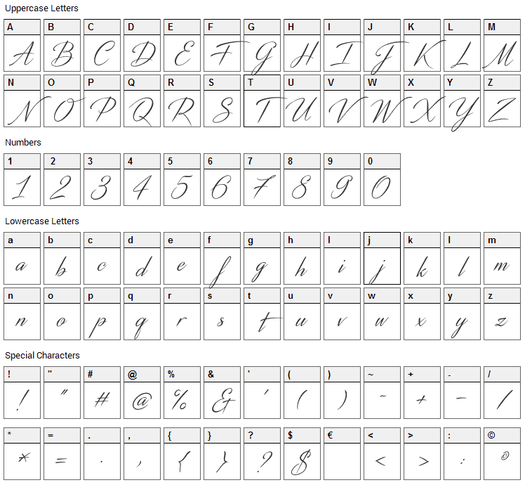 Distant Stroke Font Character Map