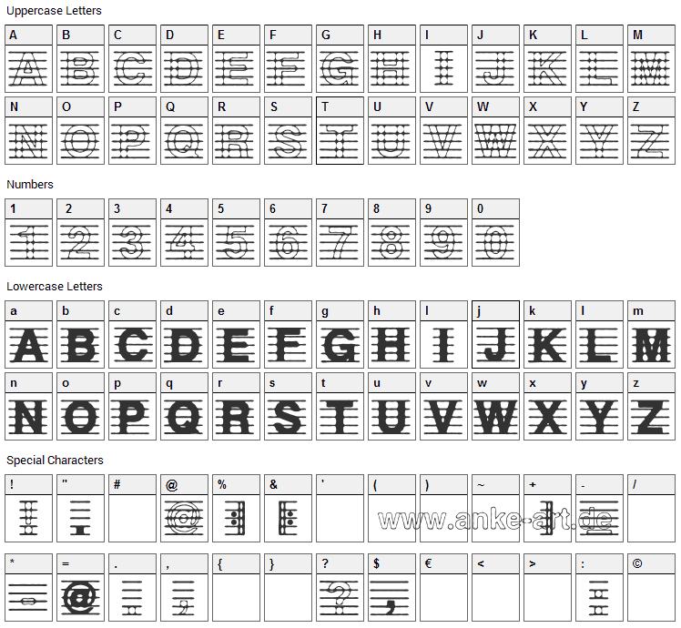 Distracted Musician Font Character Map