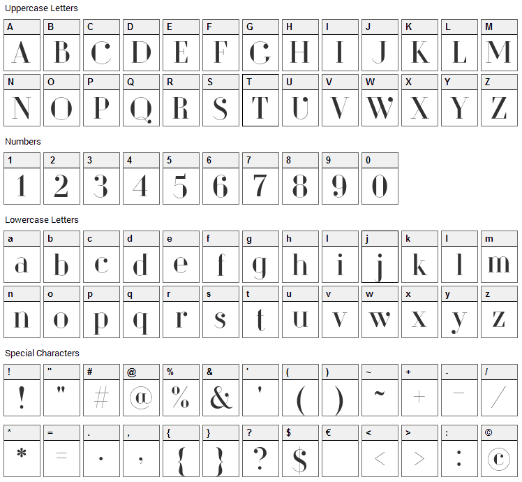 Dita Sweet Font Character Map