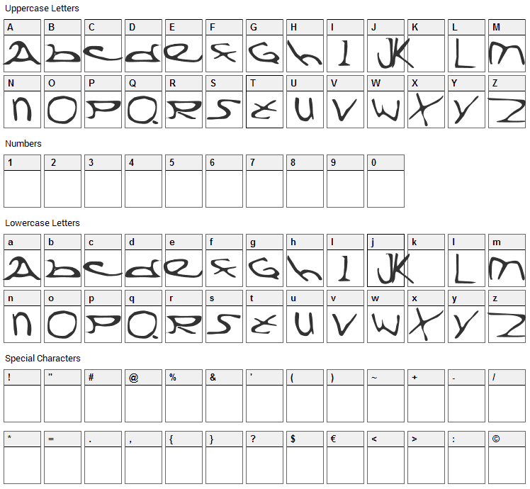 Division X Font Character Map