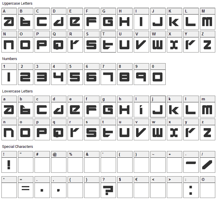 Divlit Font Character Map