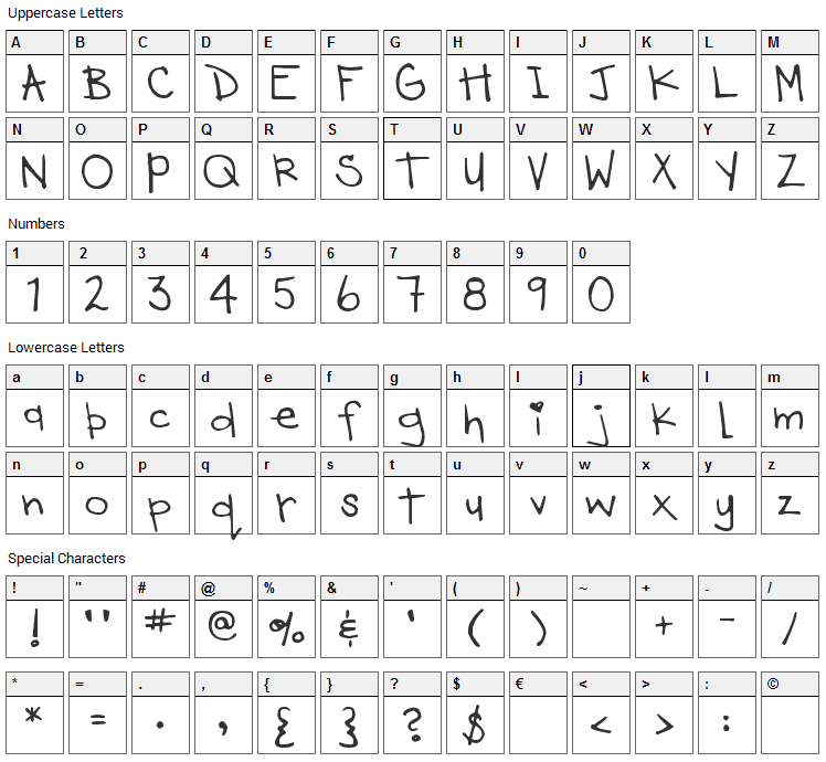 DJB Heart Of Dixi Font Character Map
