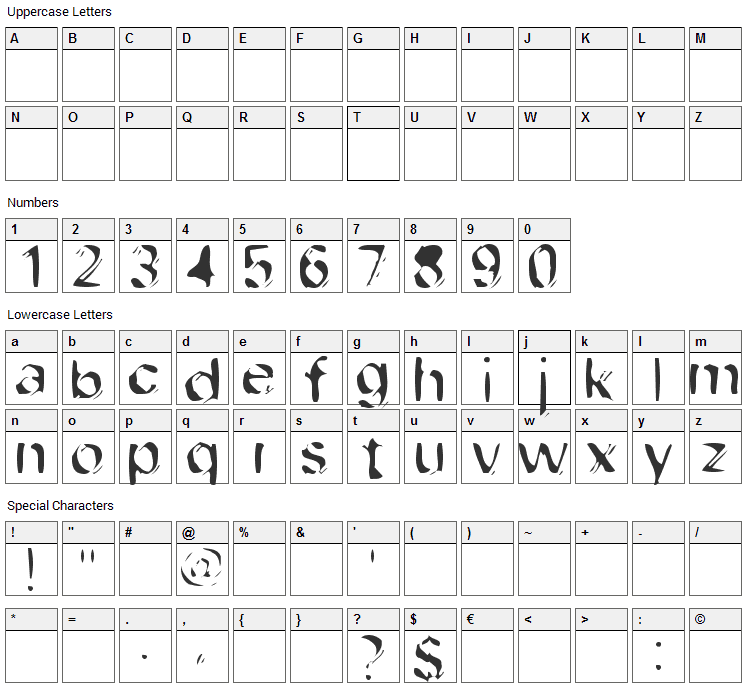 Dob File Type Font Character Map