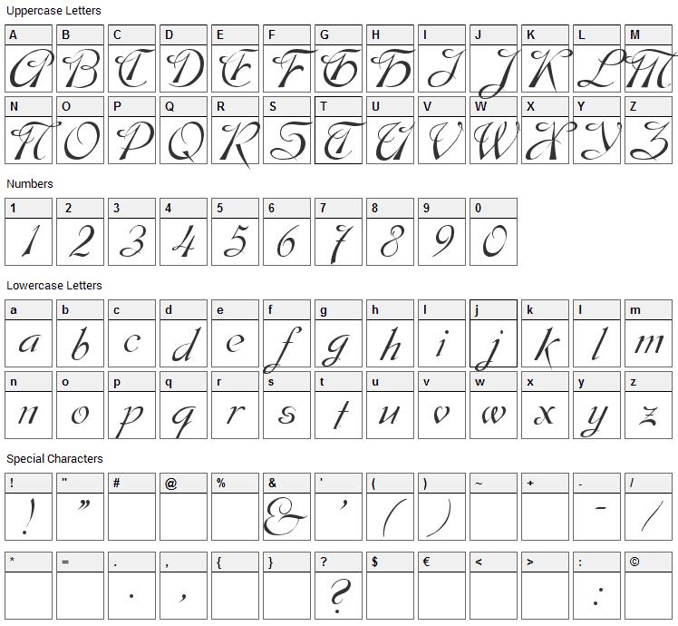 Dobkin Font Character Map