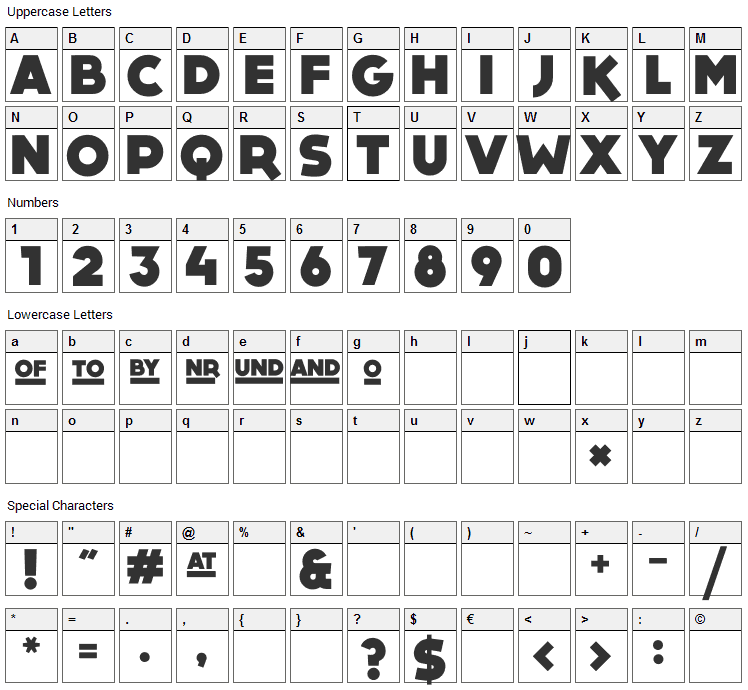 Dock 11 Font Character Map