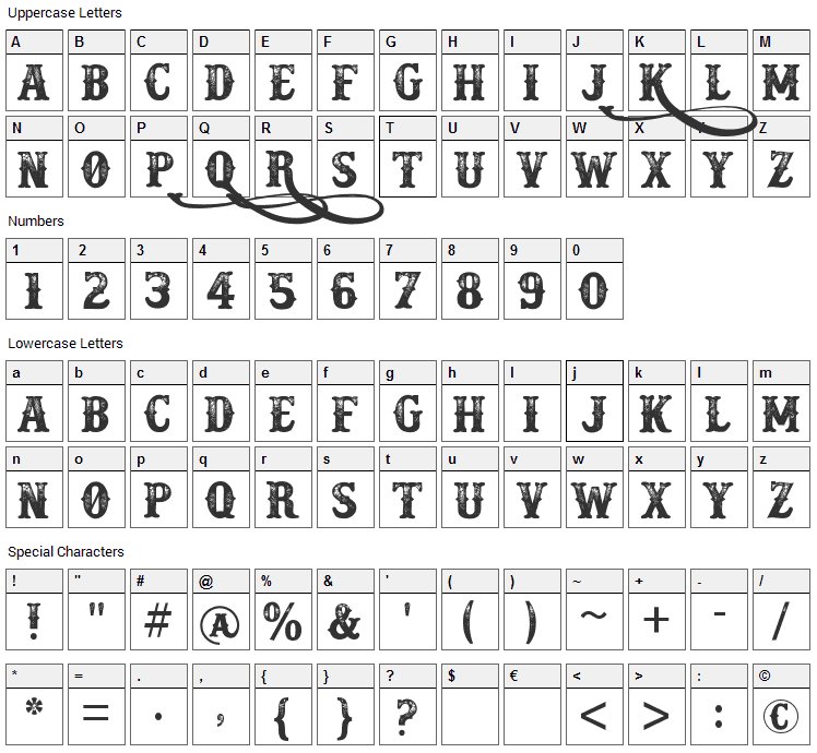 Docktrin Font Character Map
