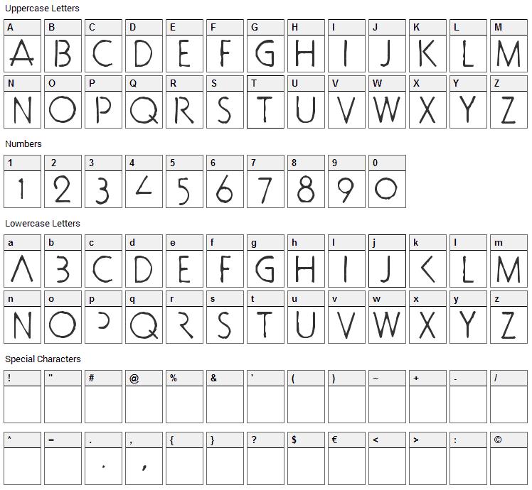 Doctor Bob Font Character Map