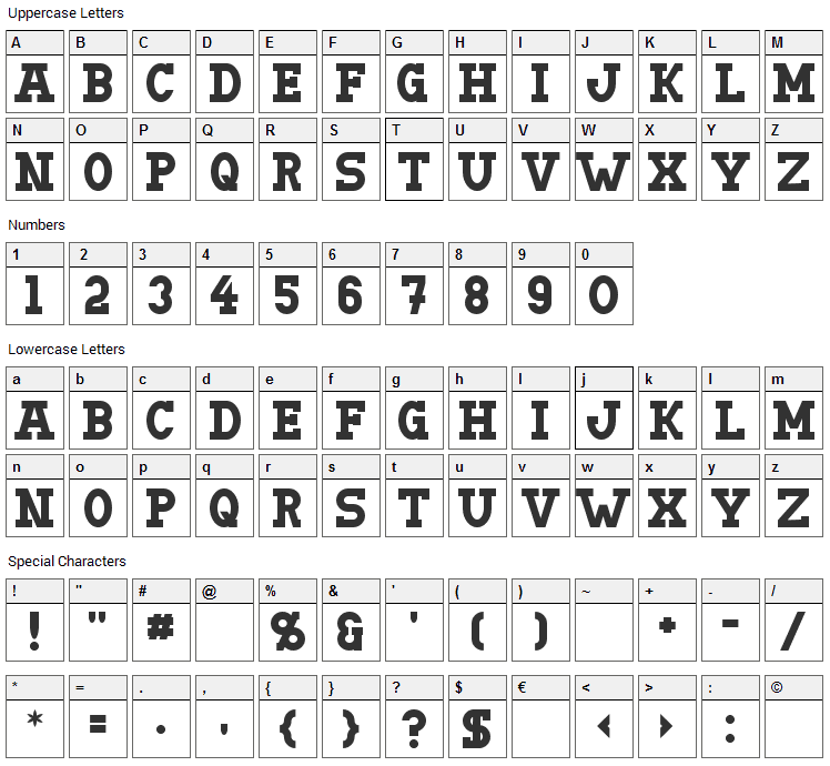 Doergon Font Character Map