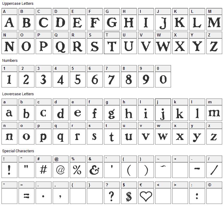 Dolenzo J Font Character Map