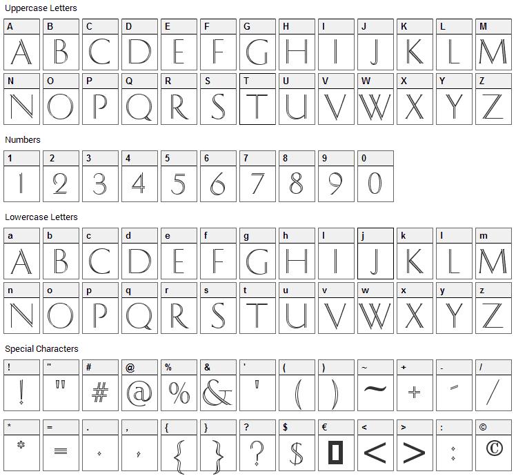 Dolphian Font Character Map