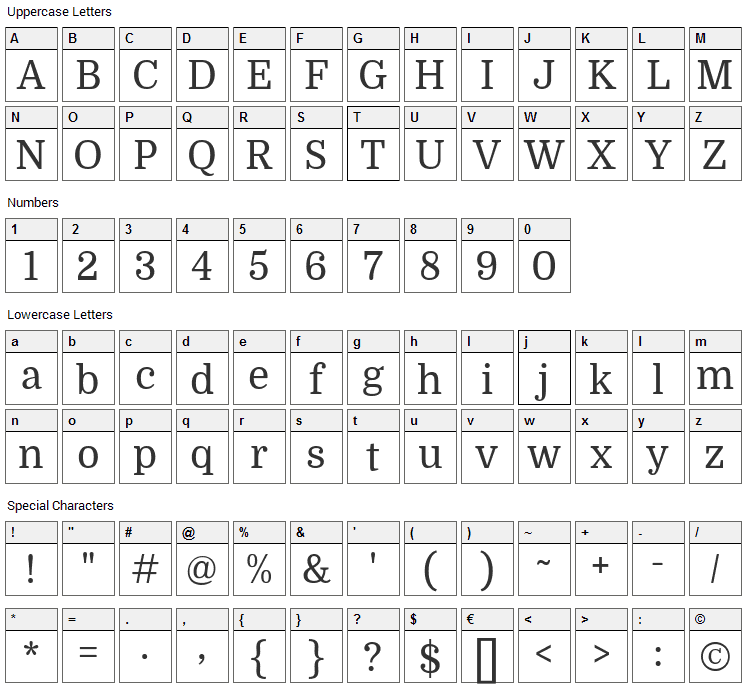 Domine Font Character Map