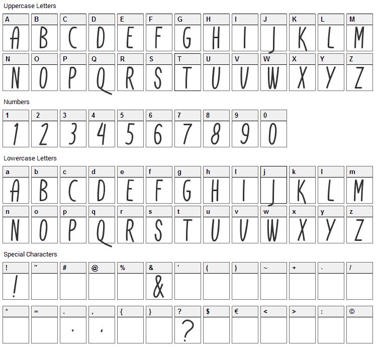 Don Aquarel Font Character Map