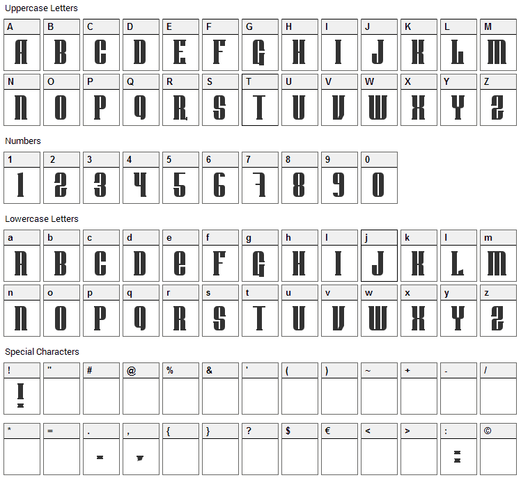 Donnie Font Character Map