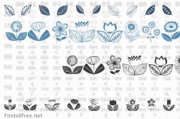 Doodle Dings 2 Retro Flowers Font