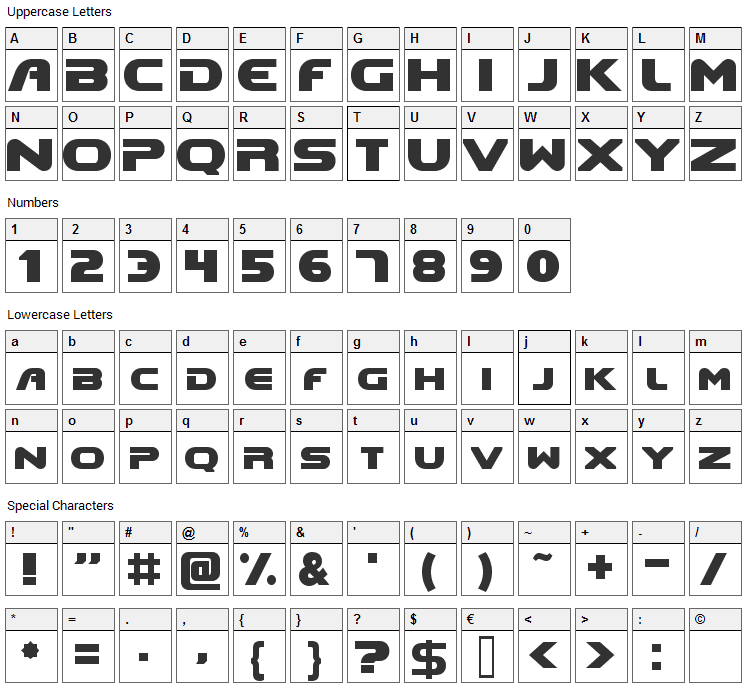 Doom Font Character Map