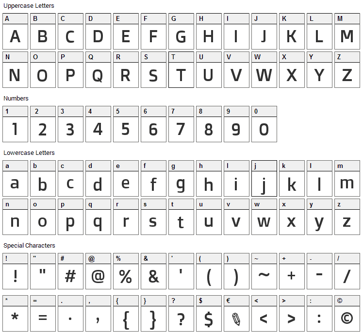 Doppio One Font Character Map