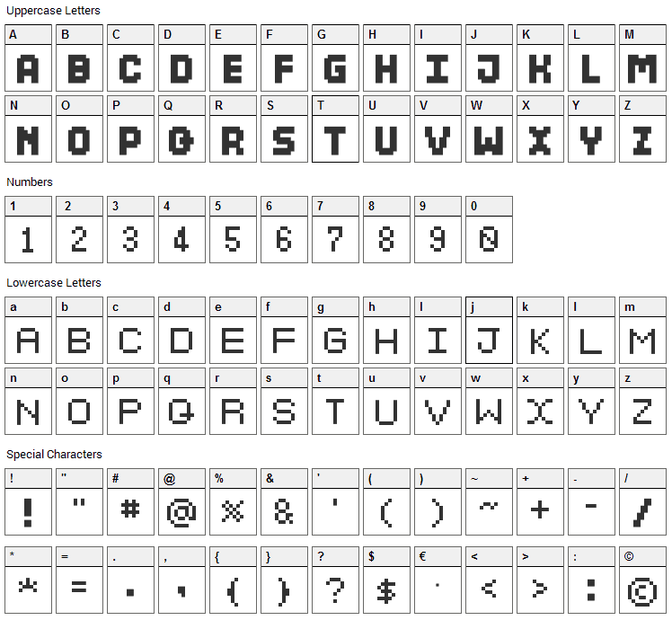 Dosukoi Font Character Map
