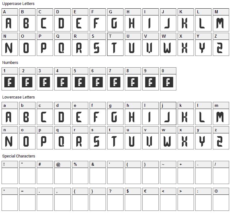 Dot Curve Font Character Map