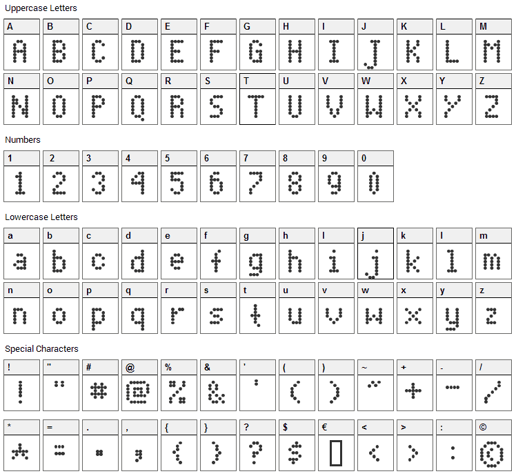 Dot Matrix Font Character Map