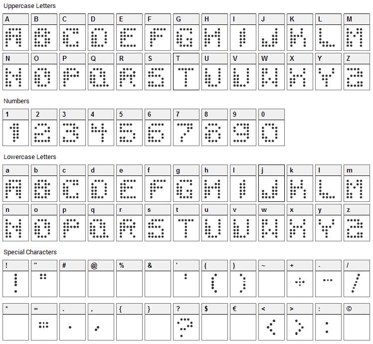Dotchaos Font Character Map