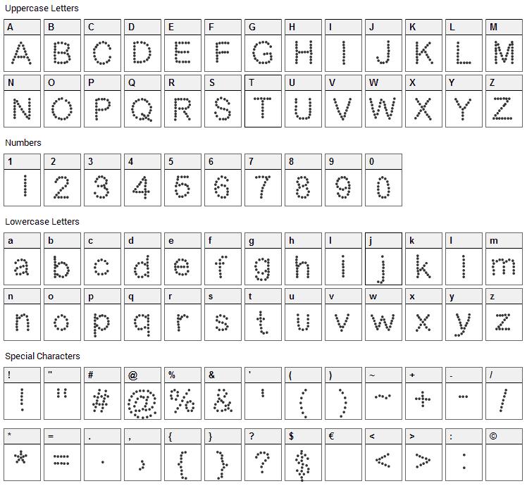 DotNess Font Character Map