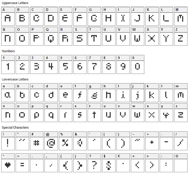 Dotphoria Font Character Map