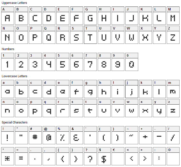 Dotspitch Font Character Map